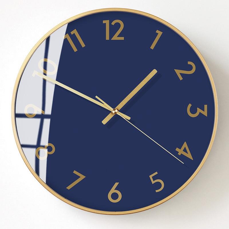 Silencieux horloge murale de luxe chambres horloges à Quartz mécanisme salon métal décorations murales salon idées cadeaux BB50WC