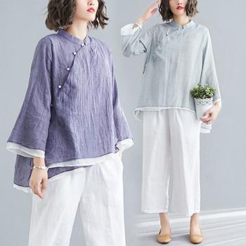 Tradycyjna chińska odzież damska Tai Chi szyfonowa strój Tang najlepszy kostium kobieca lniana koszula Kung Fu z długim rękawem bluzka Qipao Top tanie i dobre opinie Poliester Suknem Tang Suit Top WOMEN One Tang Suit Top