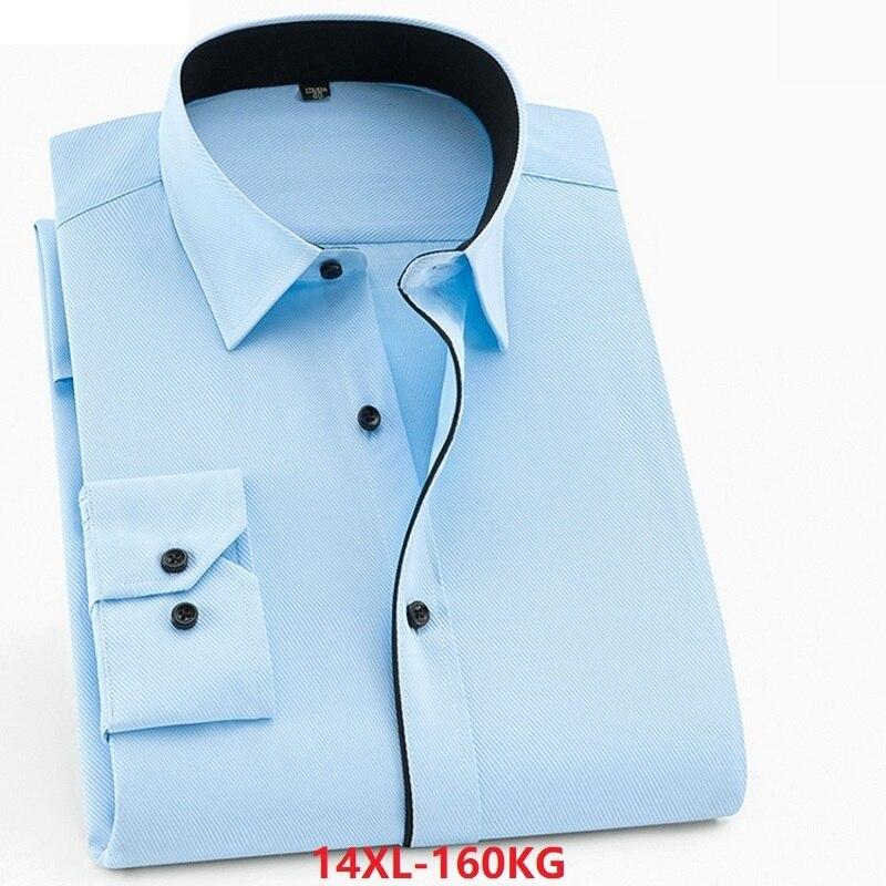 Cotton Shirts For Men Long Sleeve Large Size 8XL 10XL 12XL 13XL Office Shirt Formal Simple Autumn Work Shirts Pink Black White