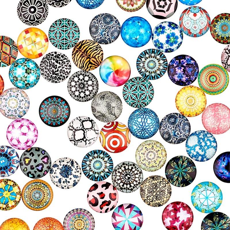 200 pcs Eye Printed Glass Cabochons Flat Back Half Round Domed Cabochon 10x4mm