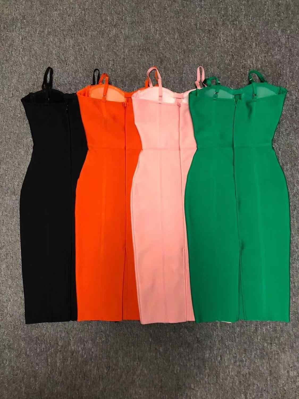 2020 ผู้หญิงฤดูร้อนคุณภาพสูง Elegant Strapless แขนกุด Spagtettli สายสีเขียวสีชมพูผ้าพันแผลผู้หญิง Bodycon PARTY DRESS