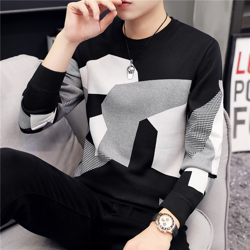 2019 Fashion Brand Men's Sweater Casual O-neck Slim Cotton Knit High Quality Men's Sweater Patchwork Pullover Men's Shirt L-4XL