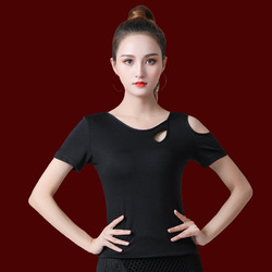 New 2020 Latin Dance Clothes Top For Women Dancers Half-sleeve Cutout Sexy Costume Ballroom Flamengo Practice Performance Wear
