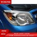Автомобильный Стайлинг хромированный налобный фонарь крышка полоски Накладка для Toyota Hilux 2005-2010