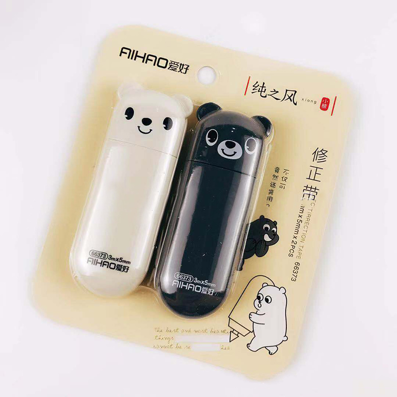 2 Pcs/set Cartoon White & Black Bear Correction Tape 3M Kid's Correction Supplies Corrector Tool Office School Stationery
