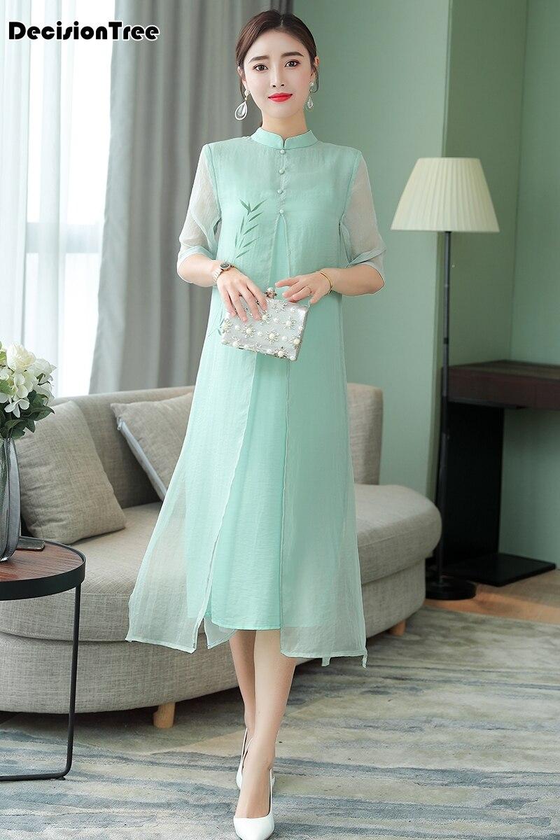 2019 Aodai Cheongsam Dress Chinese Folk Dance Qipao China Traditional Chinses Clothing For Women Floral Ao Dai Dresses