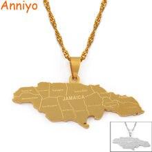 Ожерелье с подвеской anniyo картой Ямайки и городом для женщин