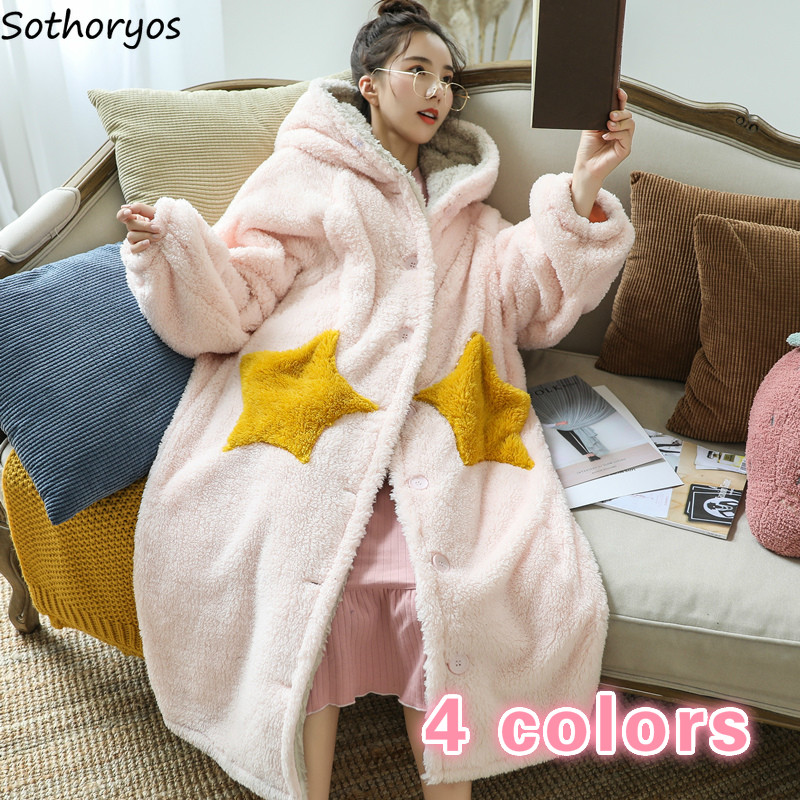 Robes Women Kawaii Hooded Coral Velvet Warm Sweet Pink Females Flannel Thick High Quality Hooded Casual Soft Korean Style Star