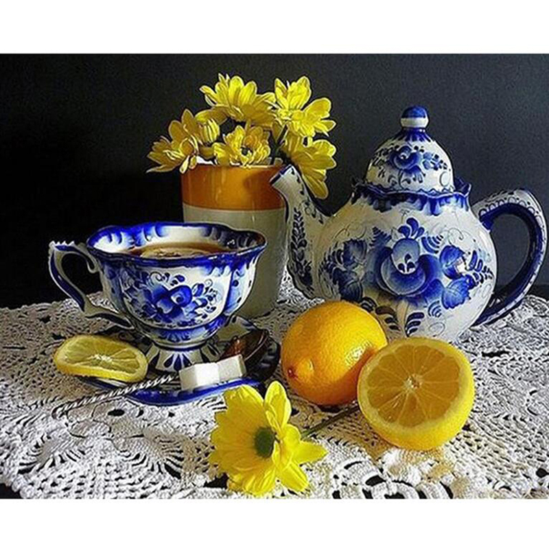 Алмазная живопись аксессуары лимонный чайный горшок цветы алмазная вышивка крестиком вышивка фруктовое украшение подарок на день