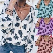 Large size loose Women Blouse casual V-neck print long-sleeved shirt summer shirt все цены