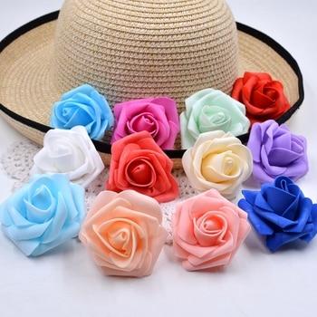10pcs lot 6cm Rose Foam Artificial Flowers Head For Wedding Home Decoration DIY Pompom Rosa Scrapbooking