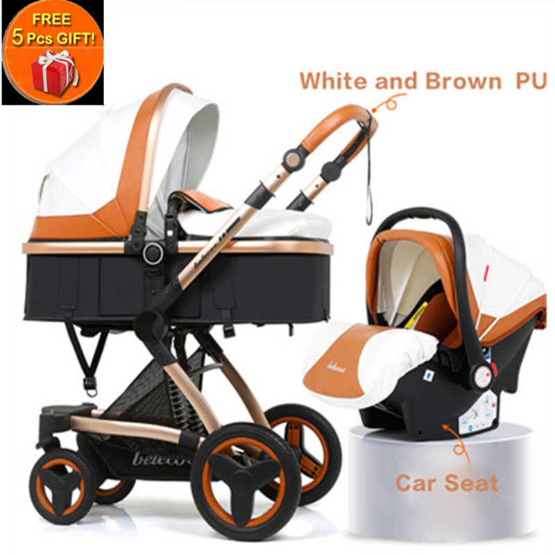 Belecoo Luxury Multifunctional Baby Stroller 2 in 1 Carriage High Landscape Pram Suite for Lying and Seating with 5 Gifts