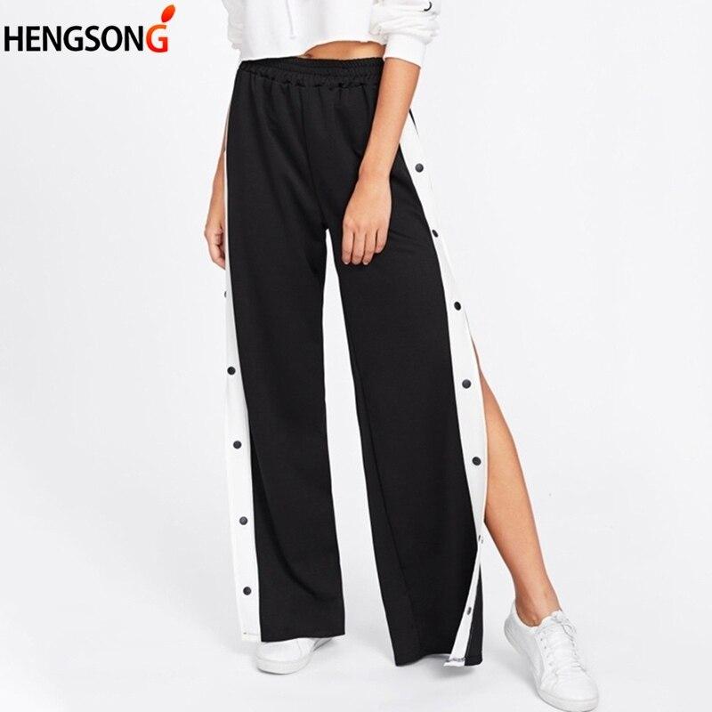 Side Buttons Split Tennis Pants Women Sports Pants Women Loose High Waist Long Wide Leg Workout Gym Fitness Pants