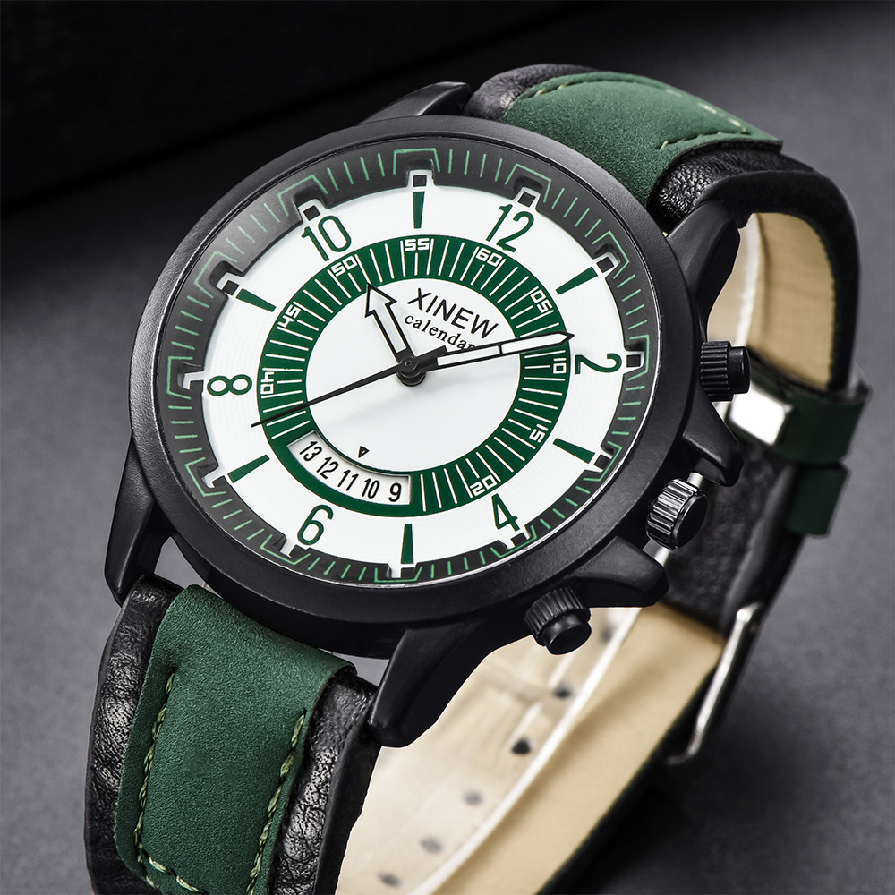 Men's Watch Military Sports Quartz Watches Luxury Green Leather Outdoor Fashion High Quality Clock Relogio Masculino