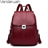 New Fashion Texture Lock Luxury Women Backpack High Quality Soft Leather School Bags For Teenage Girls Large Capacity Travel Bag