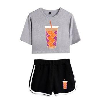 New Charli DAmelio Ice Coffee Splatter Women Two Piece Set Shorts+lovely T-shirt Sexy charli damelio merch Sport suit Girl 14