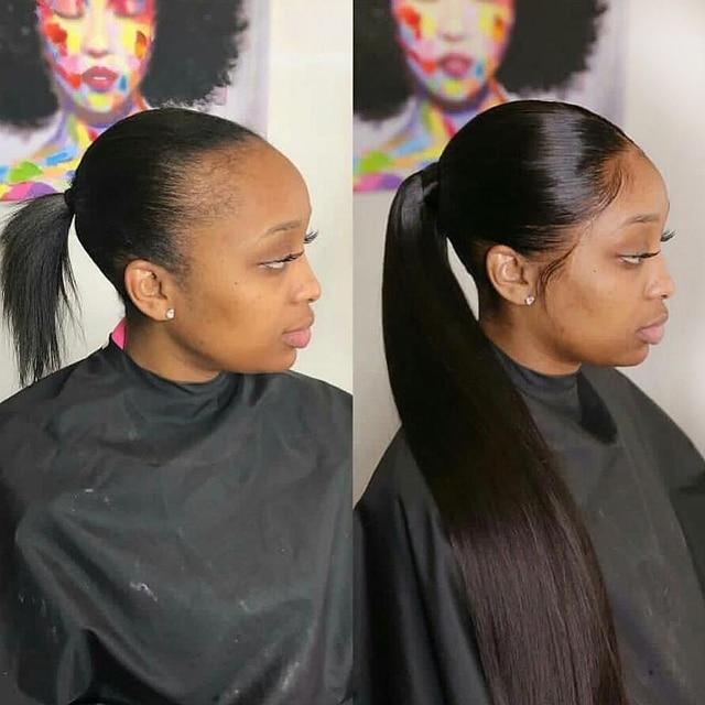 Sapphire/длинные прямые волосы на шнурке с хвостиком, натуральный цвет, Remy, шиньоны на клипсе для женщин