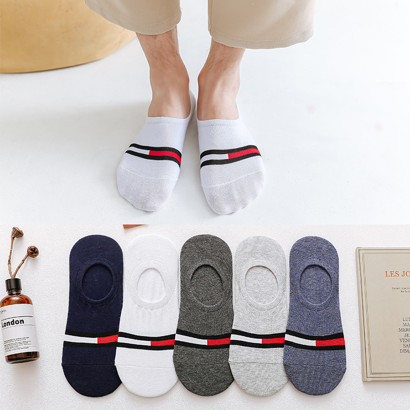 5 Pisces Summer Matching Casual Socks Men Invisible Boat Socks Shallow Mouth Breath Calcetines Silicone Non-slip Cotton Socks 05