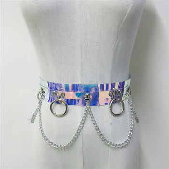 Dazzle Color Holographic Silver Metal Punk Belly Chains for Nightclub Party Waistbands Womens Shiny Faux Leather Harness Belt