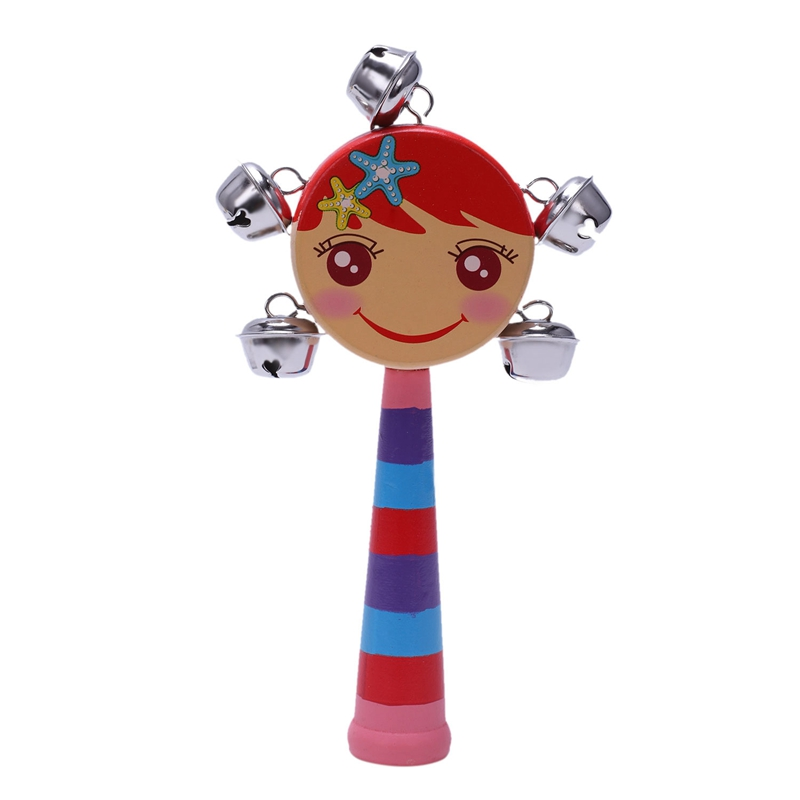 1pc Baby Kids Rainbow Wooden Handle Bell Jingle Stick Shaker Rattle Toys