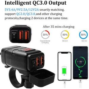 Image 3 - Xe Máy Xe Gắn Sạc USB Chống Nước Adapter 12V Điện Thoại Kép Sạc Nhanh 3.0 Vôn Kế Công Tắc On Off Moto phụ Kiện
