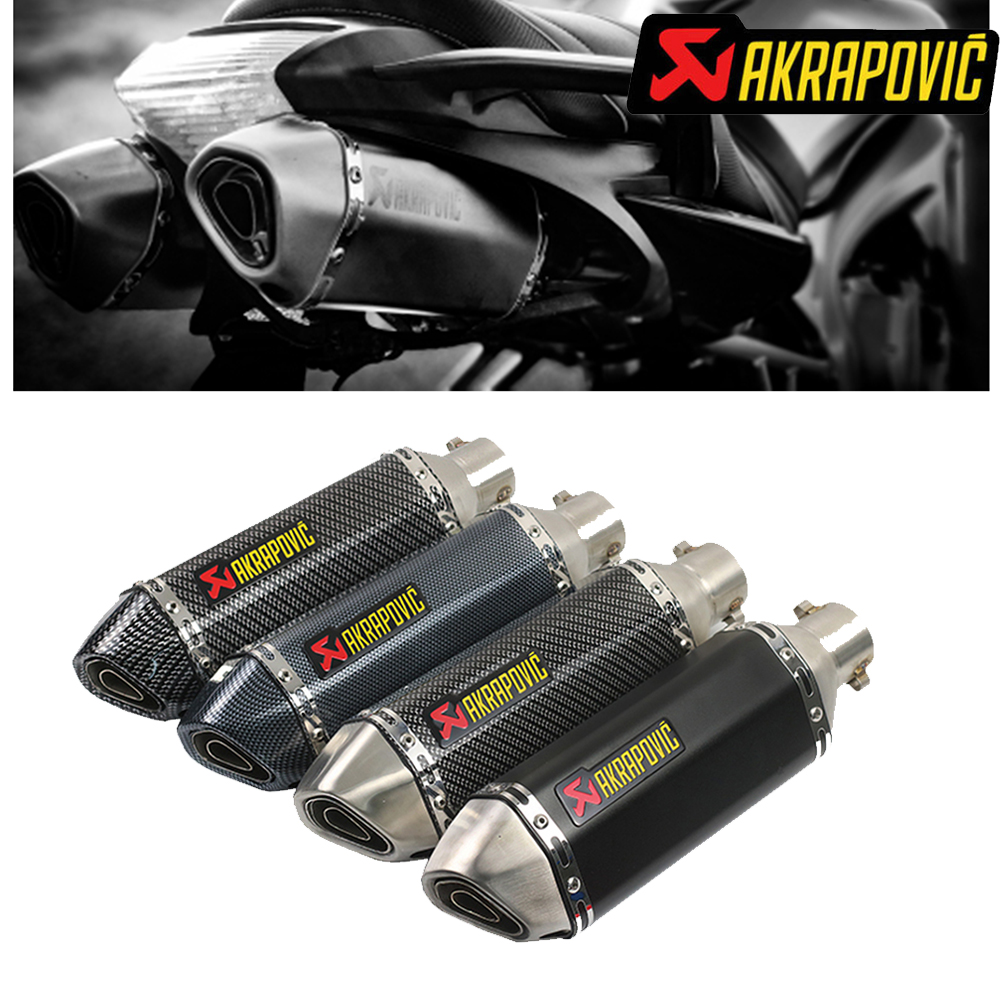 Akrapovic Exhaust Motorcycle Muffler Silencer Tip of 51mm With db Killer For <font><b>yamaha</b></font> r25 mt03 neos wr450f <font><b>mt</b></font> <font><b>125</b></font> drag star 1100 image