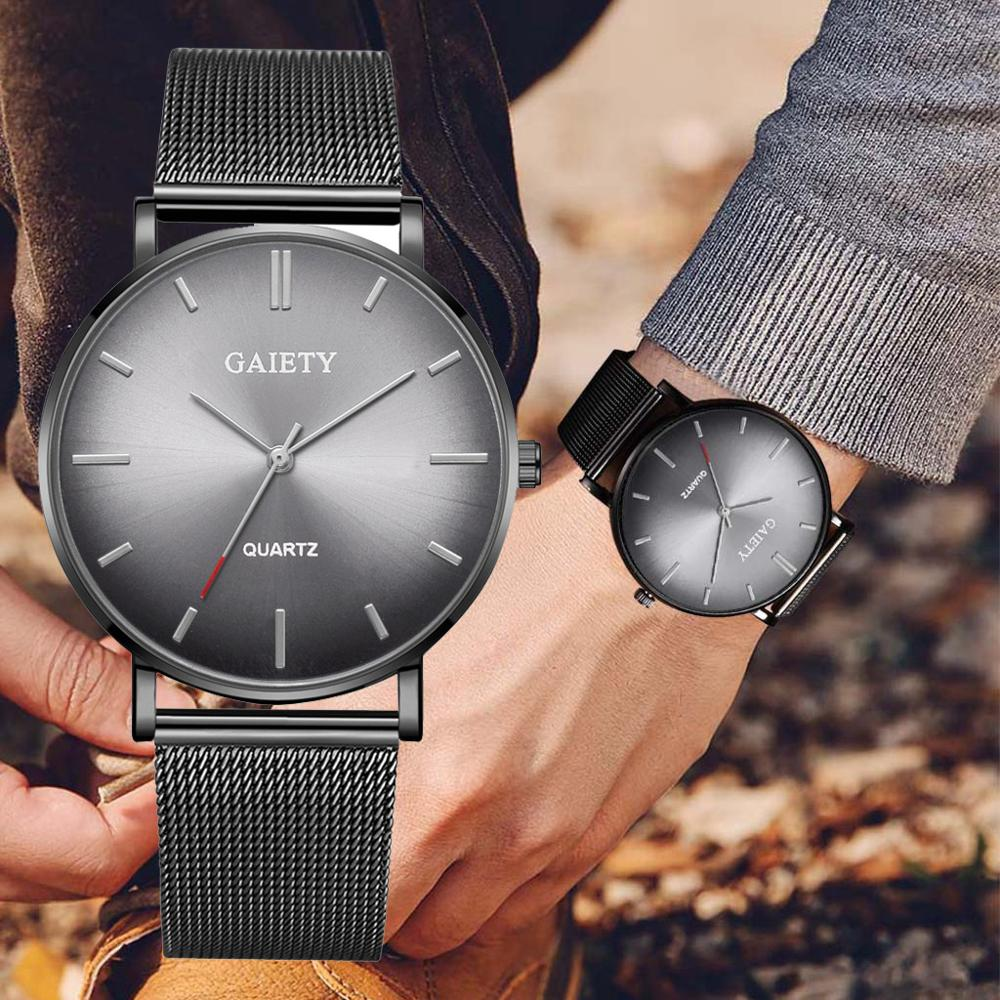 <font><b>Men's</b></font> Aurora <font><b>Watch</b></font> Top Brand Fashion <font><b>Mens</b></font> <font><b>Watches</b></font> <font><b>2019</b></font> <font><b>Luxury</b></font> <font><b>Ultra</b></font> <font><b>Thin</b></font> Quartz Man Wrist <font><b>Watches</b></font> Casual Steel Mesh Male Clock image