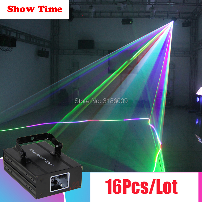Show Time 16Pcs/Lot Professional Dj Laser Show Full RGB Color laser stage Lighting for Disco Xmas Party laser Christmas