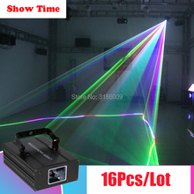 Show Time 16Pcs/Lot Professional Dj Laser Full RGB Color laser stage Lighting for Disco Xmas Party Christmas