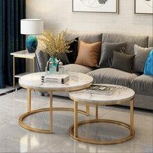 Современный минималистичный скандинавский Маленький журнальный столик для балкона гостиной кованые железные мраморные края несколько ро...