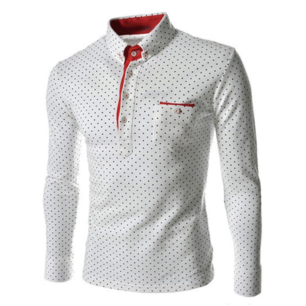 Spring Autumn Plus Size Men Polka Dot Button Down Long Sleeve  Slim Top