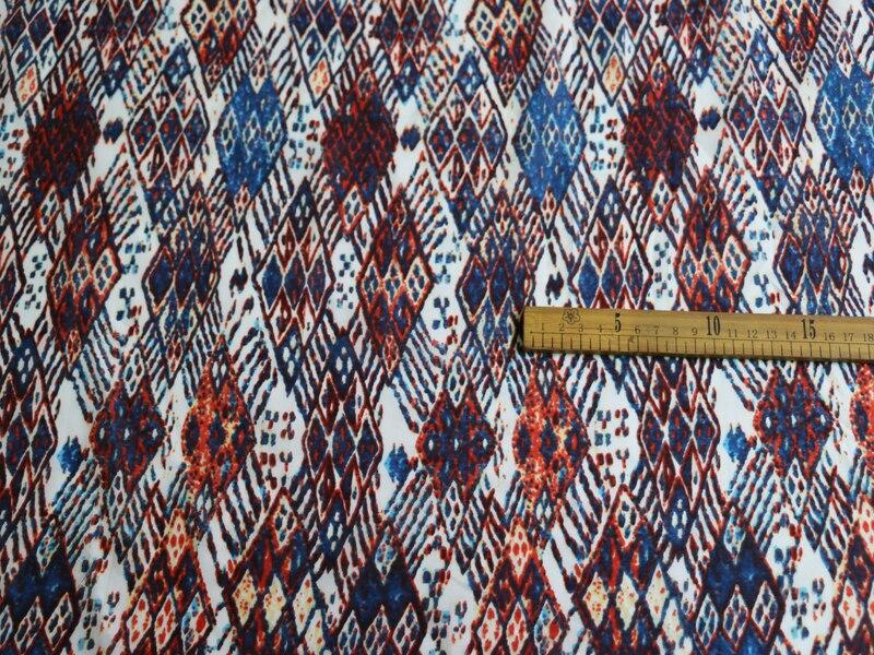 1Yard*140cm Geometric Silk Material Soft Natural Cotton Silk Fabric Bohemian