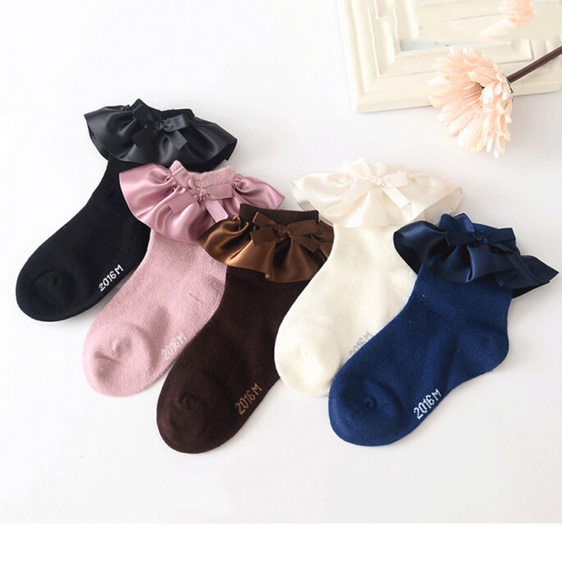 5 Colors Fashion Girls Lace Ruffles Ankle Socks Babies Sweet Princess Lovely Vintage Cotton Woven Knee Short Socks