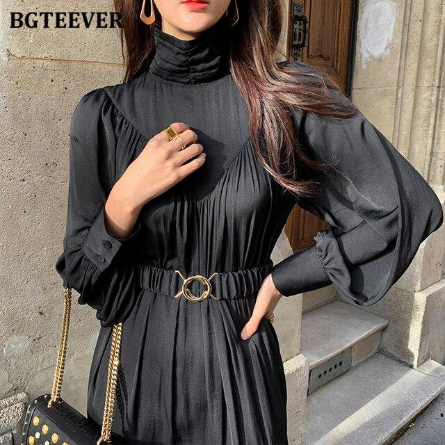Elegant Long Sleeve A-line Turtleneck Dress  4