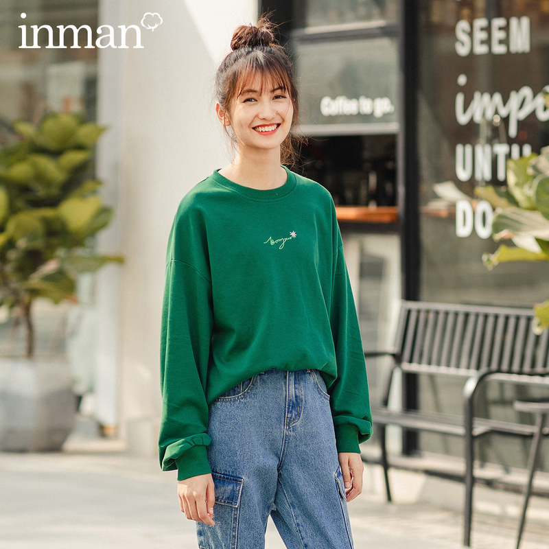 INMAN 2020 Spring New Arrival Solid Color Round Collar Embroidery Flower Elastic Threaded Sleeve Loose Style Women Sweatshirt