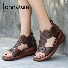 Johnature Retro Women Shoes Summer Sandals Wedges Genuine Le