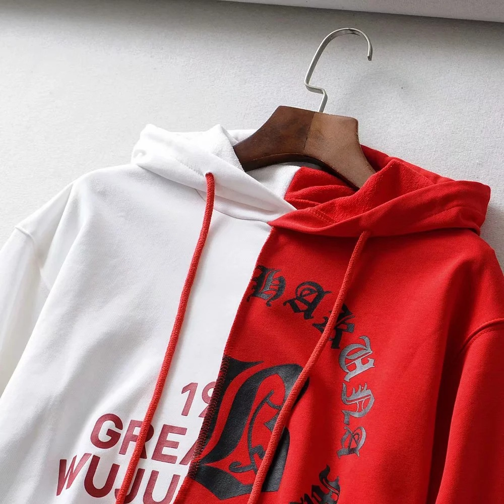 Europe And America INS AliExpress 2019 Early Autumn Trend Cool Joint Contrast Color Lettered Irregular Loose-Fit Hoodie Women's
