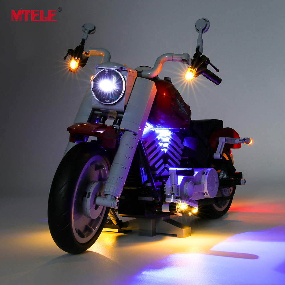 MTELE Brand LED Light Up Kit For Creator Expert Harley Davidson Fat Boy Lighting Set Compatile With 10269 NOT Include The Model