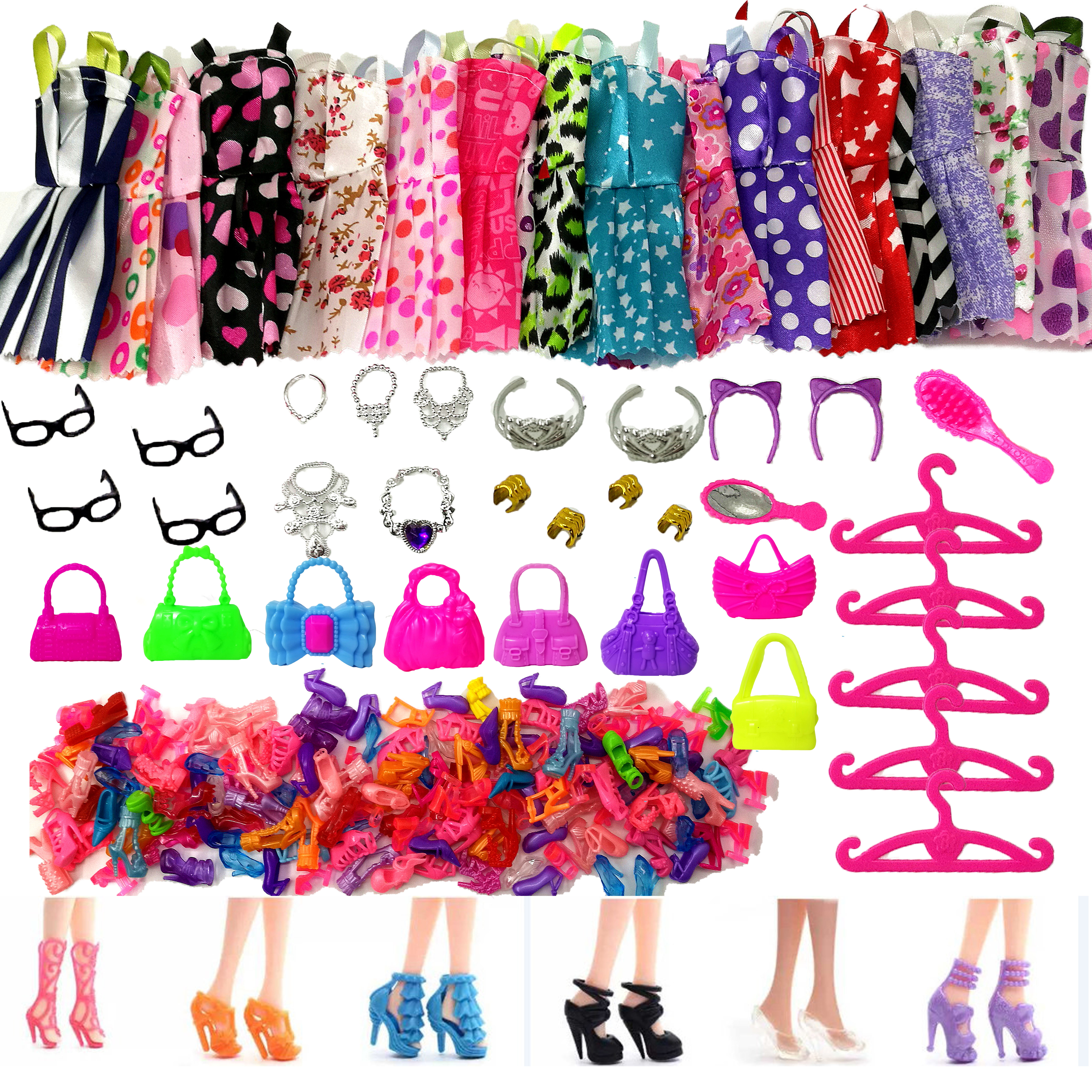 Random 1 Set Doll Accessories For Barbie Doll Shoes Boots Mini Dress Handbags Crown Hangers Glasses Doll Clothes Kids Toy 12''