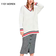 ZA NEW Spring Autumn Women's white red V-neck Hit color Sweater Pullover Fashion Casual Female Tops(China)
