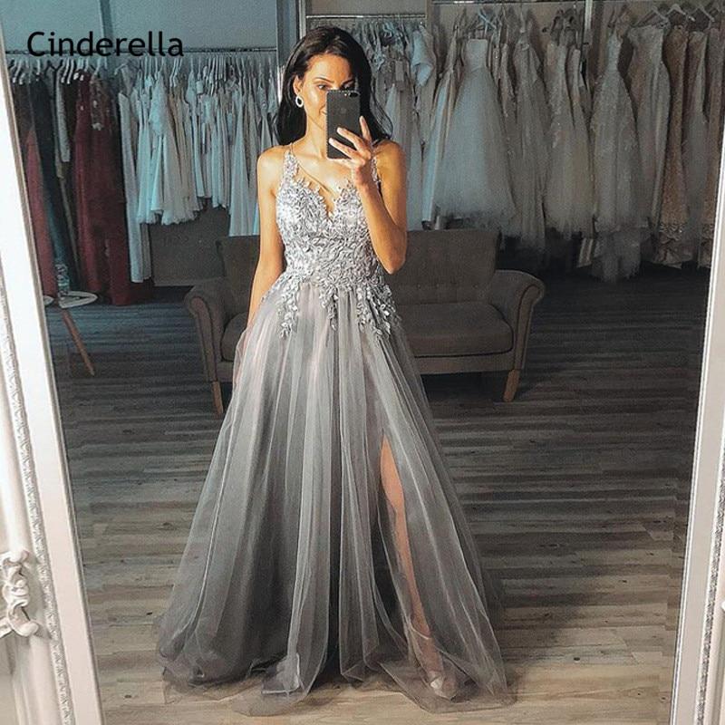 Gray V-Neck Sleeveless Soft Tulle A-Line Lace Applique Prom Dresses With Zipper Back Party Dresses Vestidos De Fiesta De Noche