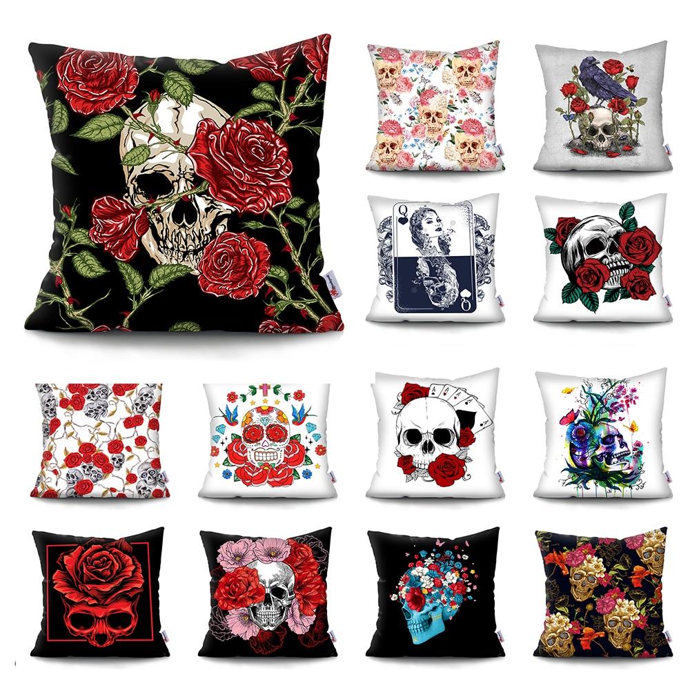 Skull Head Flowers Print Cushion Cover Throw Pillows Covers Super Soft Short Plush Pillowcase Home Decor sofa decorative pillow