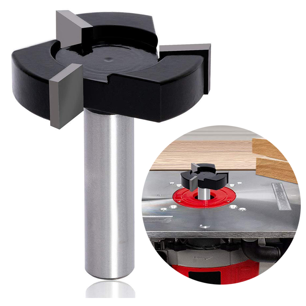CNC Spoilboard Surfacing Router Bits 1/2 Inch Shank 2 Inch Cutting Diameter Slab Flattening Router Bit Wood Milling Tool