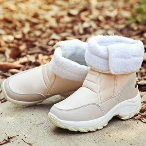Image 4 - MORAZORA 2020 śniegowe buty wodoodporne antypoślizgowe grube futro ciepłe zimowe buty okrągłe toe płaski obcas buty damskie botki