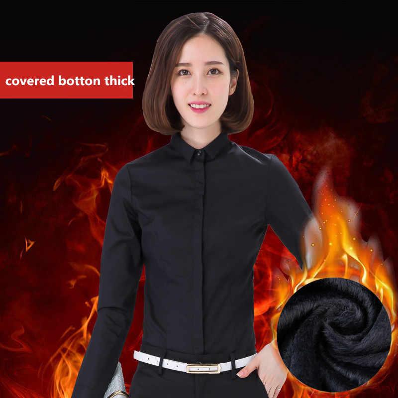 2020 moda Otoño Invierno camisa negra de mujer de manga larga gruesa ajustada ropa de trabajo OL Camisas de mujer de talla grande Tops 5XL WXF603