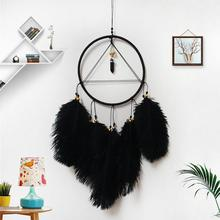Black Dreamcatcher with Lights Handmade Feather Dream Catcher Hanging Wind Chimes Art For Car Room Decoration Ornaments