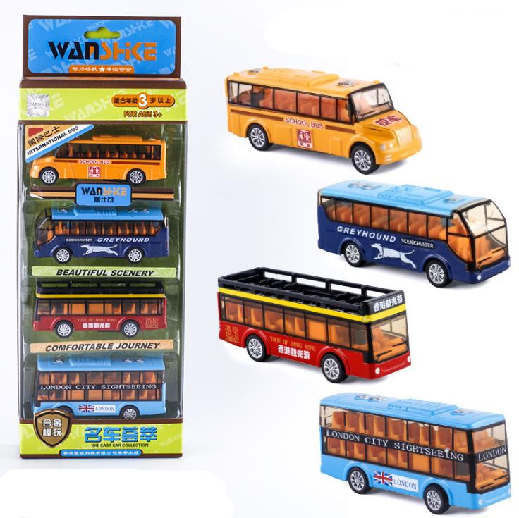 Original Packaging 1:64 Alloy Pull Back Bus Model,high Simulation School Bus Convertible Bus Toy,free Shipping