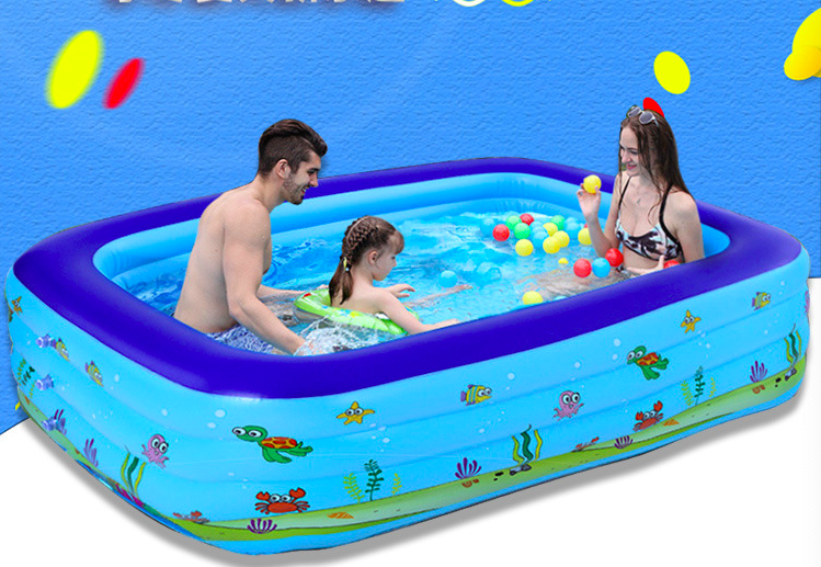 2 People Outdoor Inflatable Swimming Pool Children's Swimming Paddling Pool Indoor Outdoor Rectangular Swimming Pool