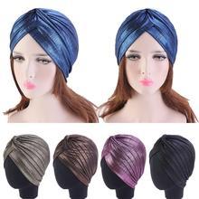 Muslim Women Glitter Turban Pleated Cancer Hat Chemo Cap India Hair Loss Beanie Head Wrap Headscarf Beanie Stretchable Cover Cap