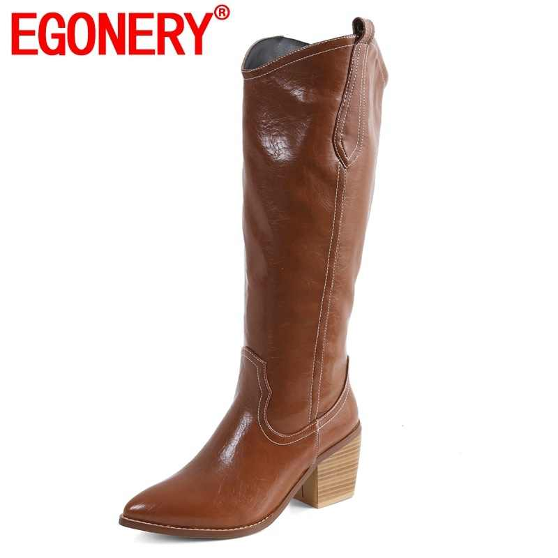 EGONERY nữ giày nữ mùa đông 2019 thời trang mới mũi nhọn trơn đầu gối Giày cao ngoài trời Giày cao gót Plus kích thước giày thả vận chuyển